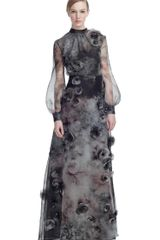 Valentino Fluid Garden Organza High Neck Gown