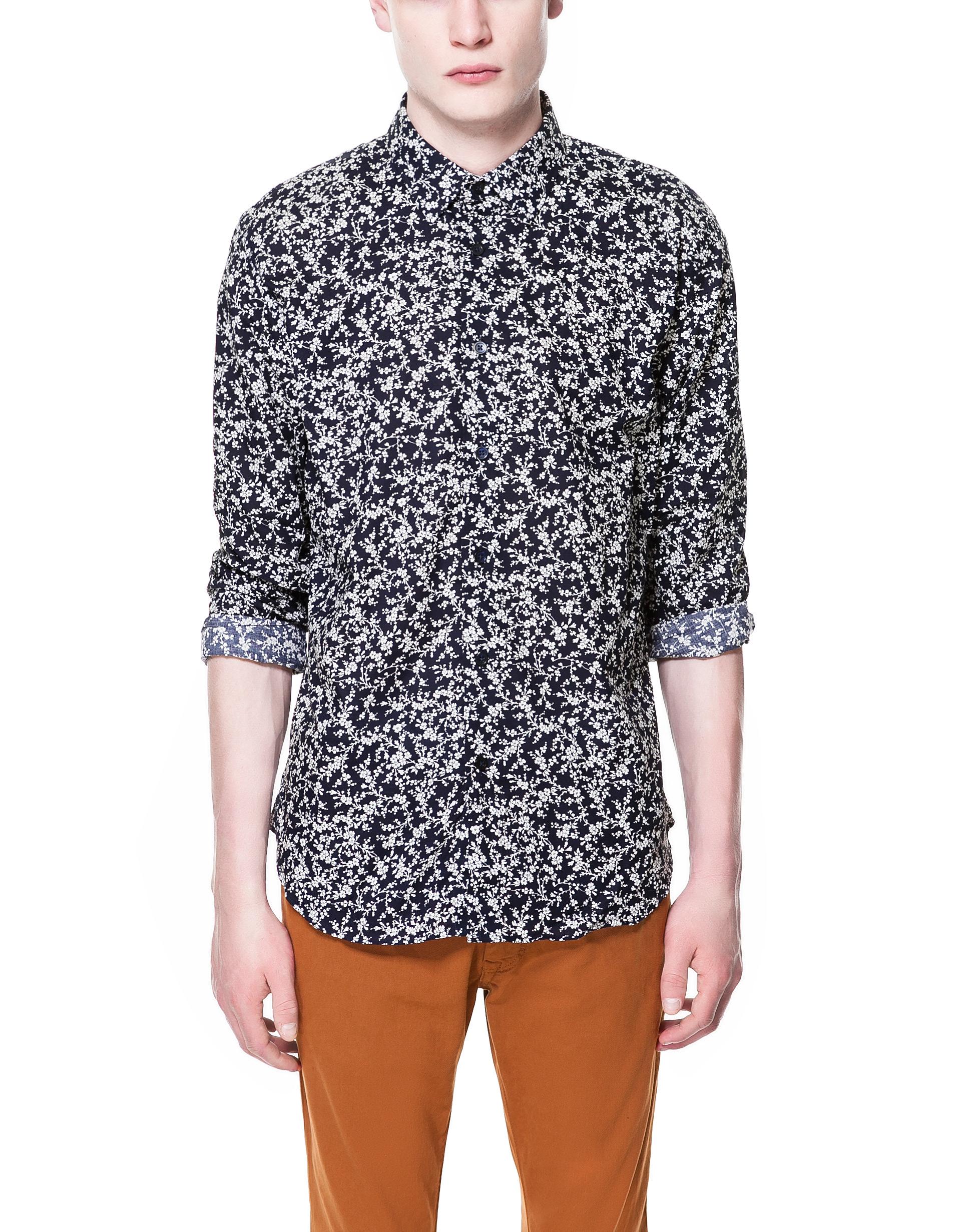 Zara printed voile shirt in blue for men navy blue lyst for Zara mens shirts sale