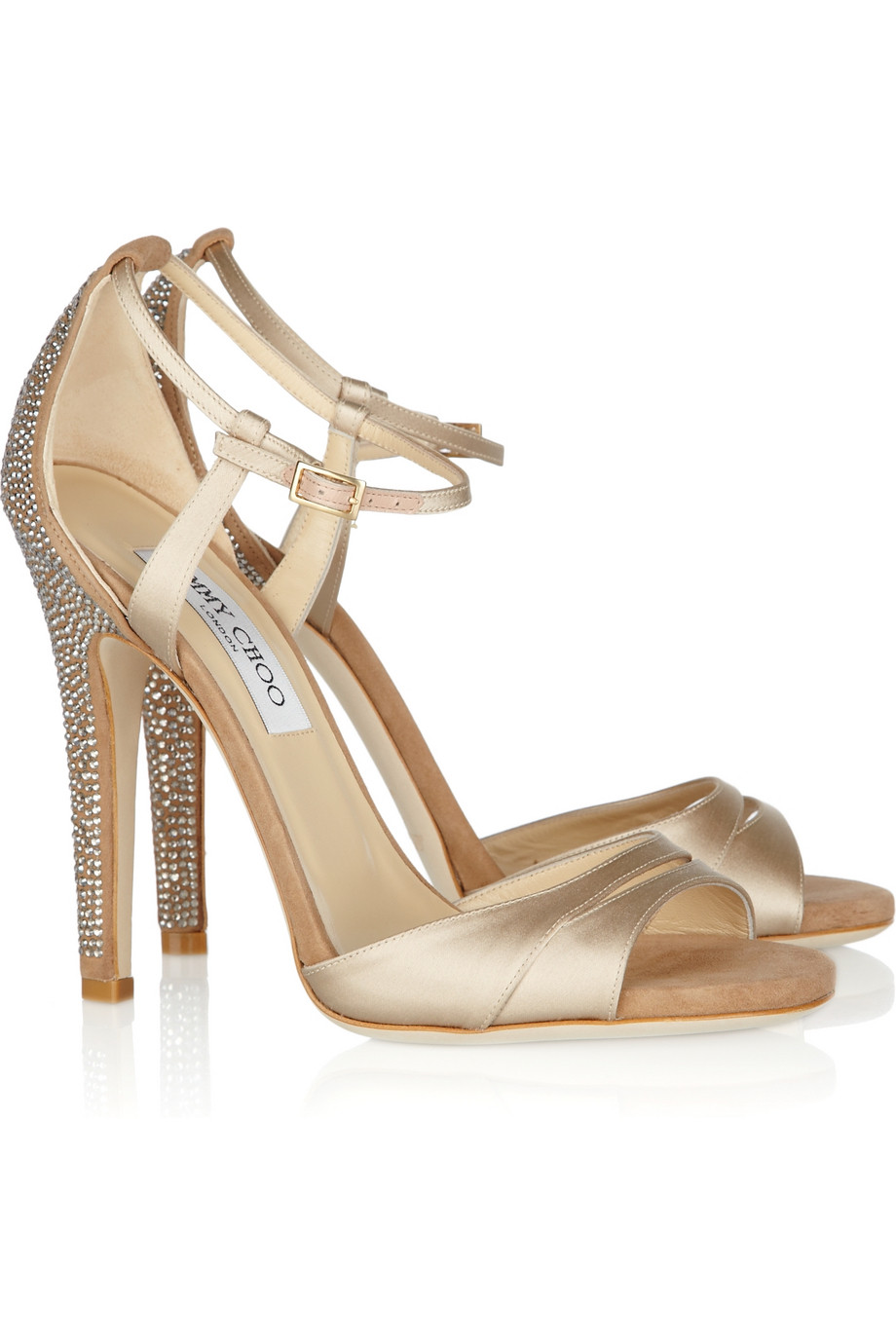 Lyst Jimmy Choo Tema Crystal Embellished Satin And Suede