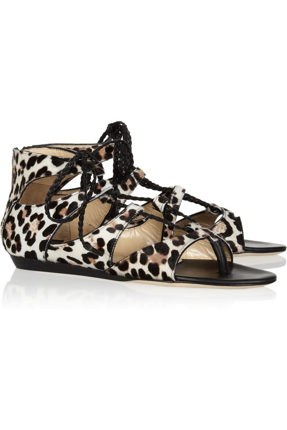 Lyst Jimmy Choo Leopard Print Calf Hair Sandals