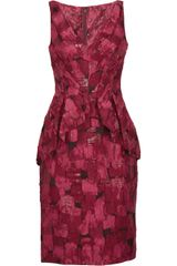 Lela Rose Jacquard Peplum Dress - Lyst