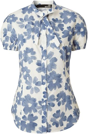 Love Moschino Short Sleeve Floral Shirt - Lyst