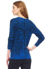 Michael Kors Zebra Print Sweater in Blue (zebra) - Lyst
