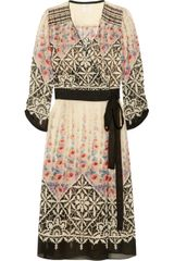 Anna Sui Floral Print Silk Chiffon Wrap Dress - Lyst