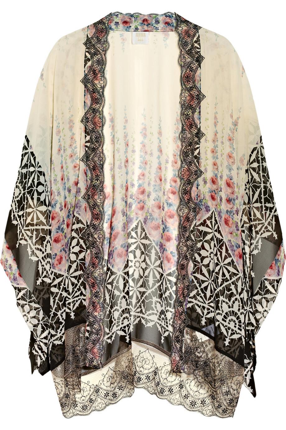 Anna Sui Lace Trimmed Silk Chiffon Kimono Jacket In