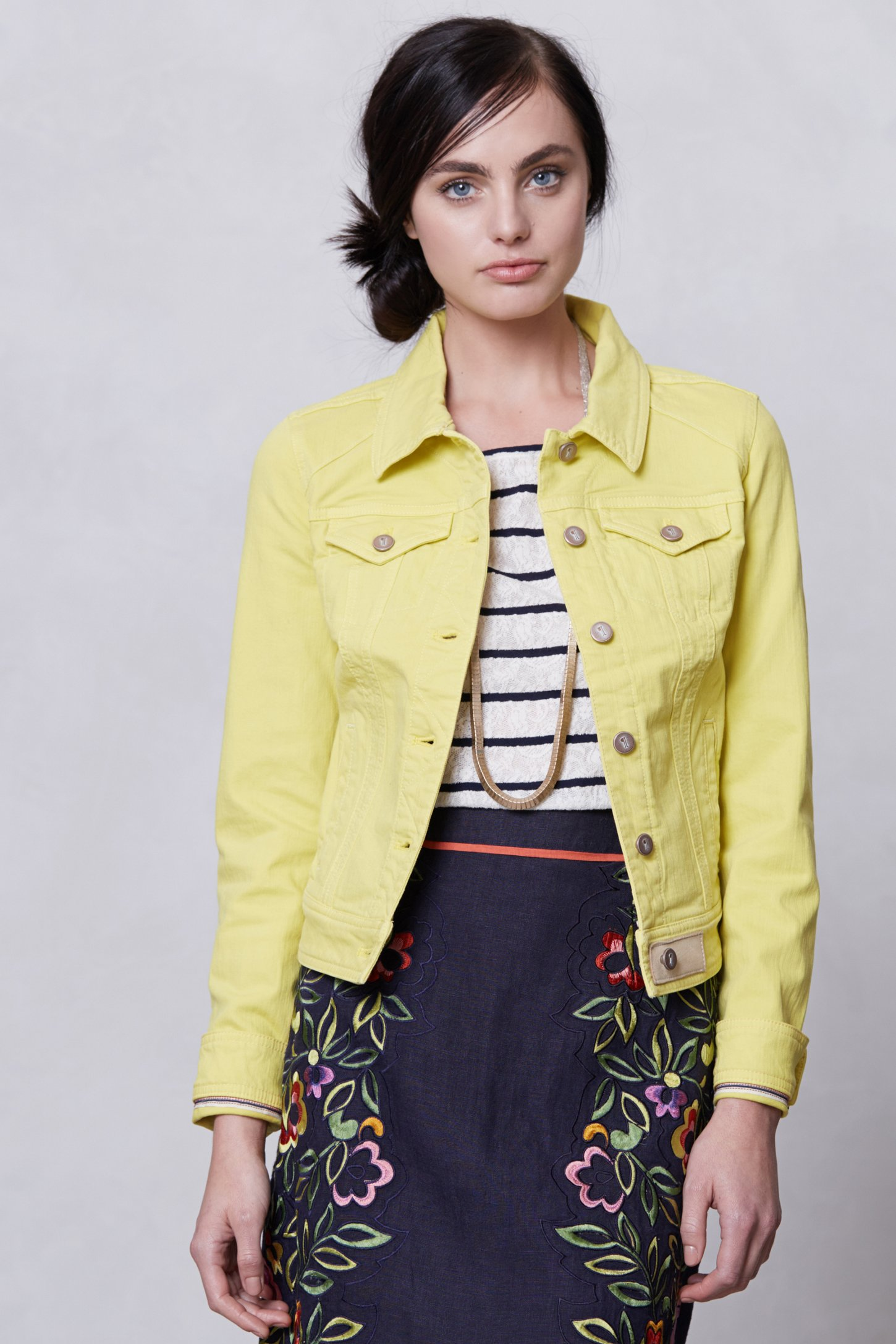 Pilcro Colored Denim Jacket in Yellow | Lyst
