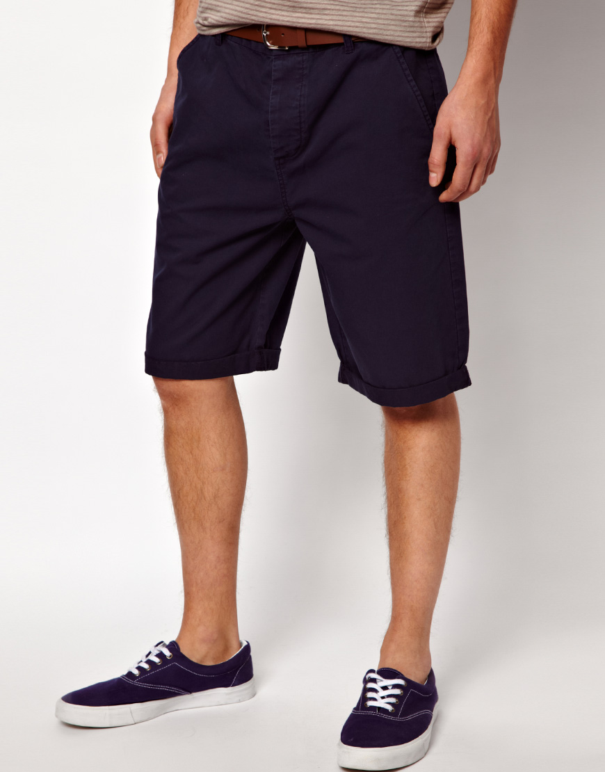 Asos Chino Shorts In Longer Length in Blue for Men | Lyst