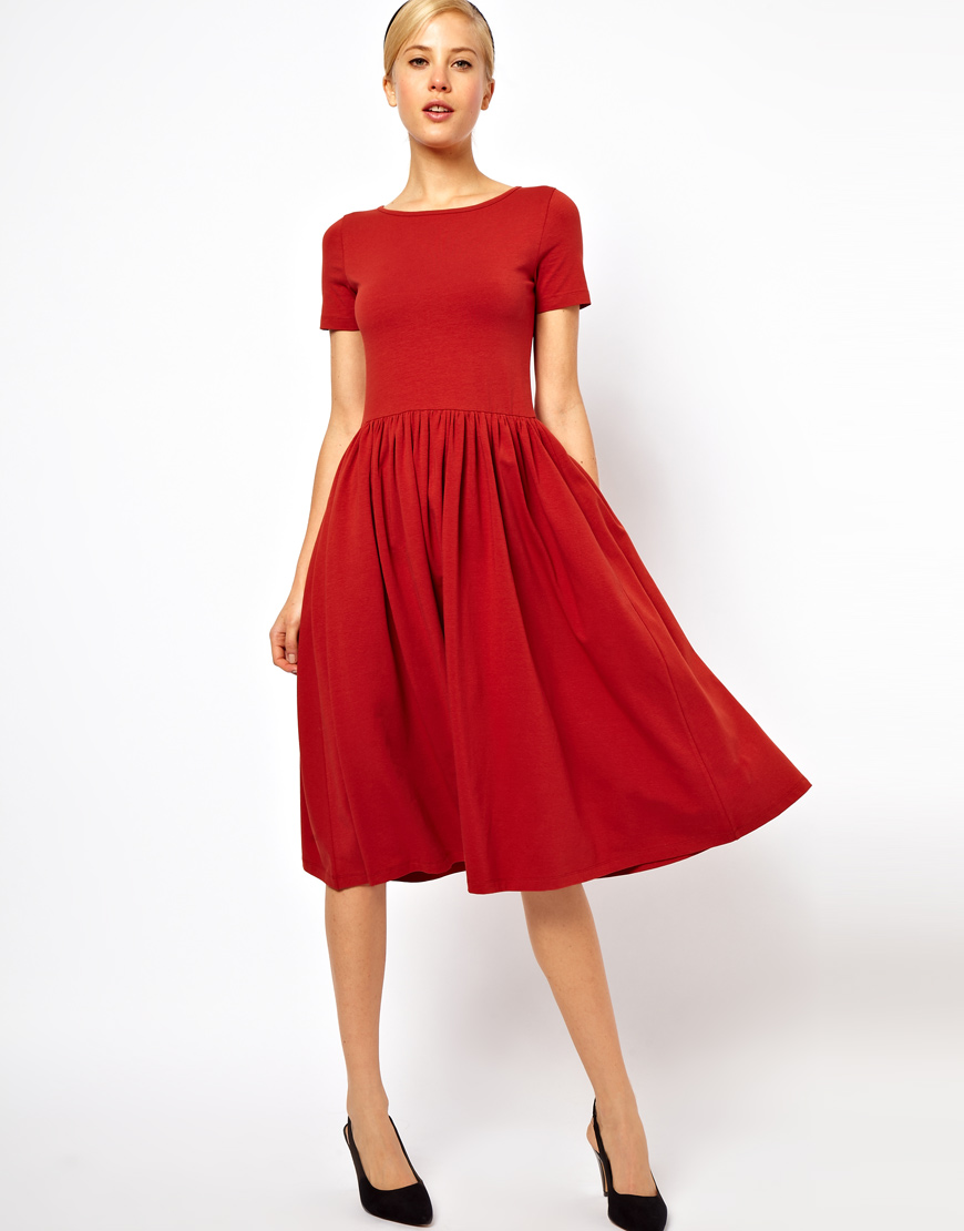 Lyst Asos Asos Midi Dress With Short Sleeves In Red