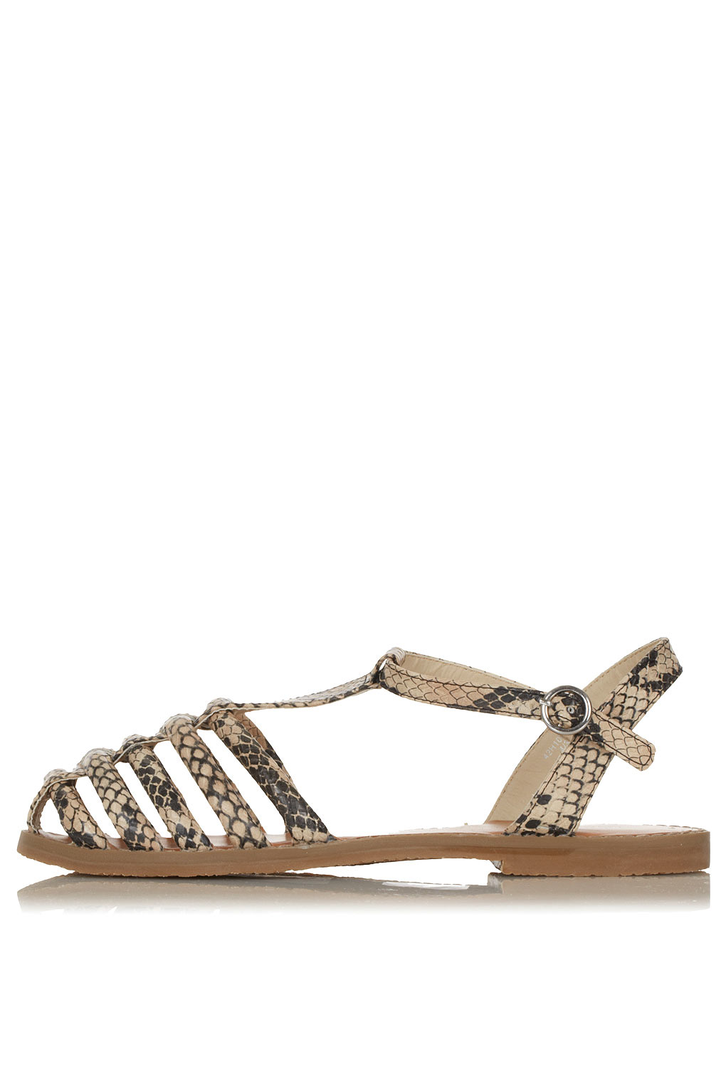Topshop Hampi Caged Closed Toe Sandals In Brown Natural