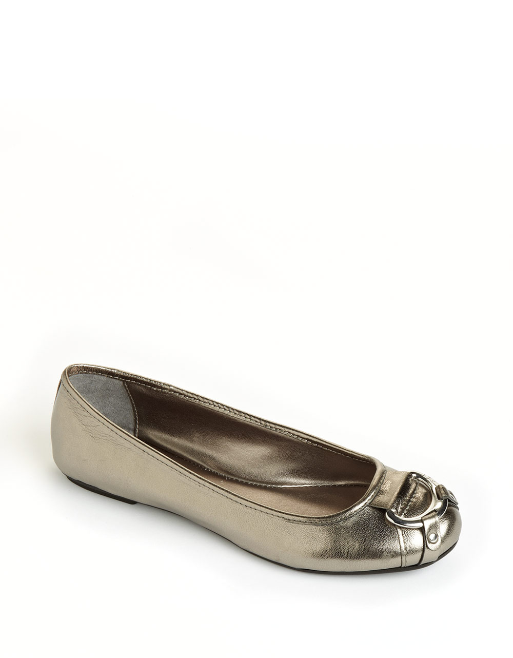 lauren by ralph lauren abigale leather ballet flats in gold pewter leather lyst. Black Bedroom Furniture Sets. Home Design Ideas