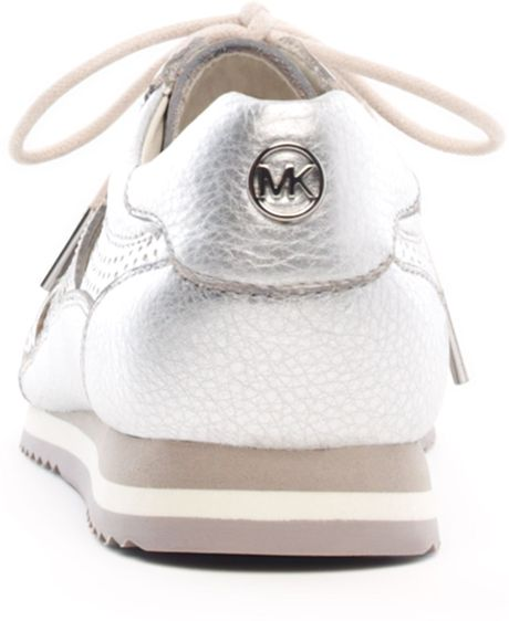 Michael Kors Metallic Logo Trainer in Gold (silver) - Lyst