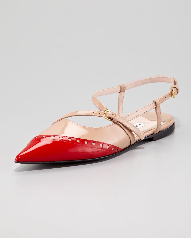 84d5108e89f1 Lyst - Miu Miu Patent Bicolor Ballerina Flat in Red