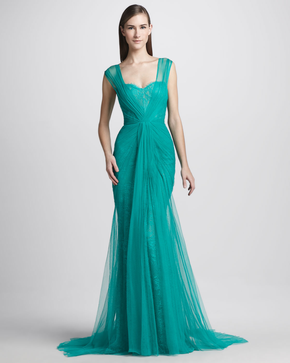 Lyst - Monique Lhuillier Sheer Lace Overlay Gown in Green
