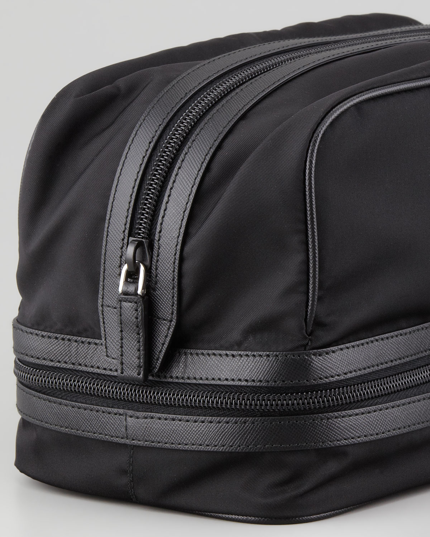 Prada Nylon Toiletry Bag With Zipper Bottom In Black For
