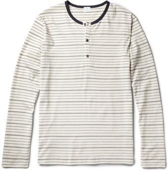 Sunspel Striped Cotton Jersey Henley T-Shirt - Lyst