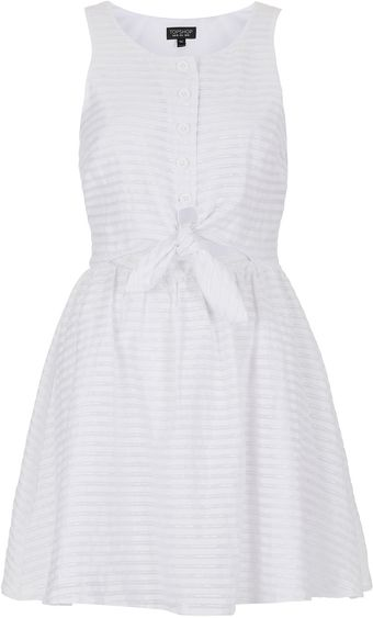Topshop Self Stripe Tie Sundress - Lyst