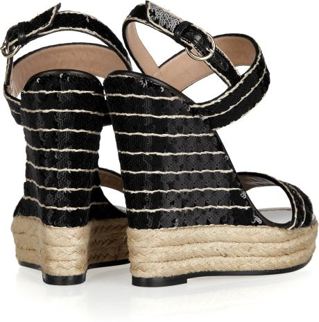 Valentino Sequined Espadrille Wedge Sandals In Black Lyst