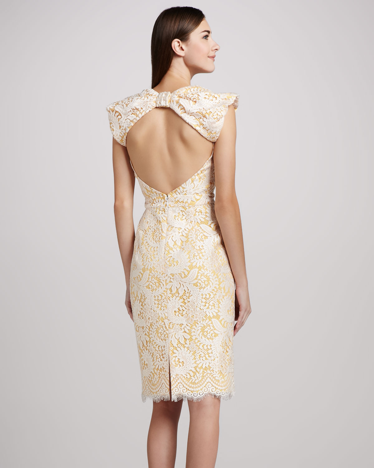 Back Open lace cocktail dress pictures