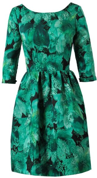 Balenciaga Floral Jacquard Silkblend Dress in Green (black green) - Lyst