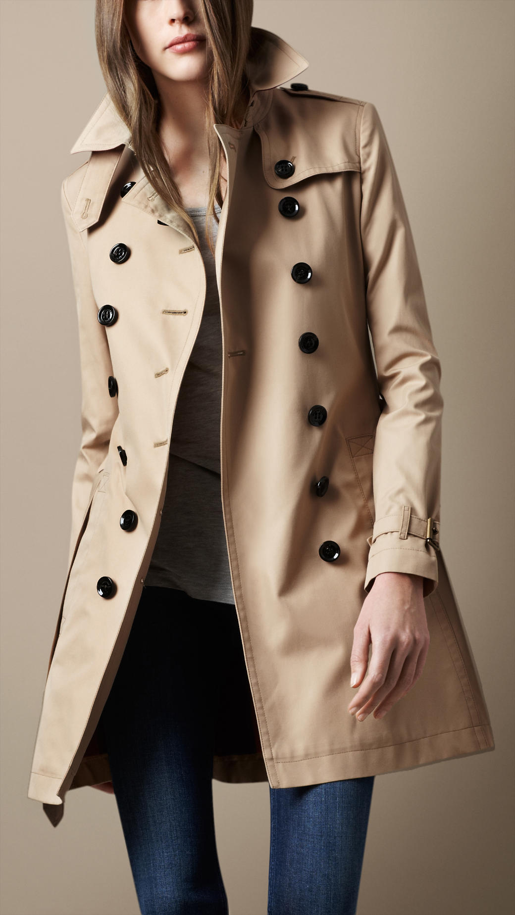 burberry brit midlength cotton poplin trench coat in. Black Bedroom Furniture Sets. Home Design Ideas