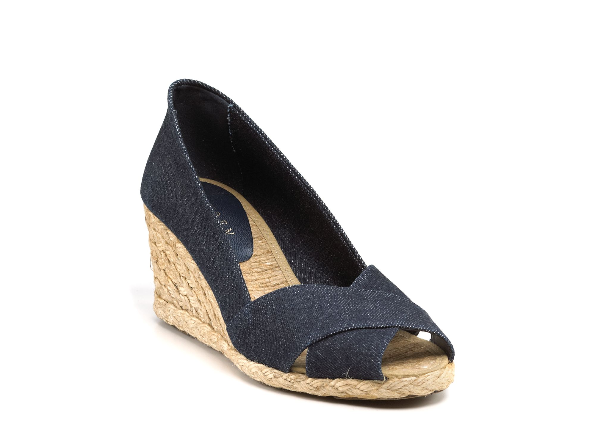 lauren by ralph lauren cecilia espadrille wedge sandals in blue dark wash denim lyst. Black Bedroom Furniture Sets. Home Design Ideas