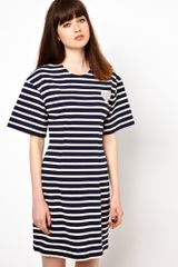 Markus Lupfer Stripe Fitted Dress with Heart Brooch - Lyst