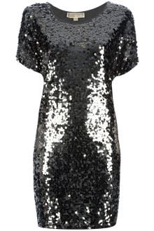 Long Sleeve Sequin Dress on Michael By Michael Kors Long Sleeve Sequin Wrap Dress In Silver