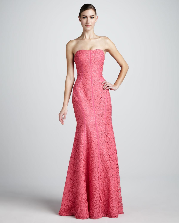 Lyst - Ml Monique Lhuillier Strapless Trumpet Gown in Pink