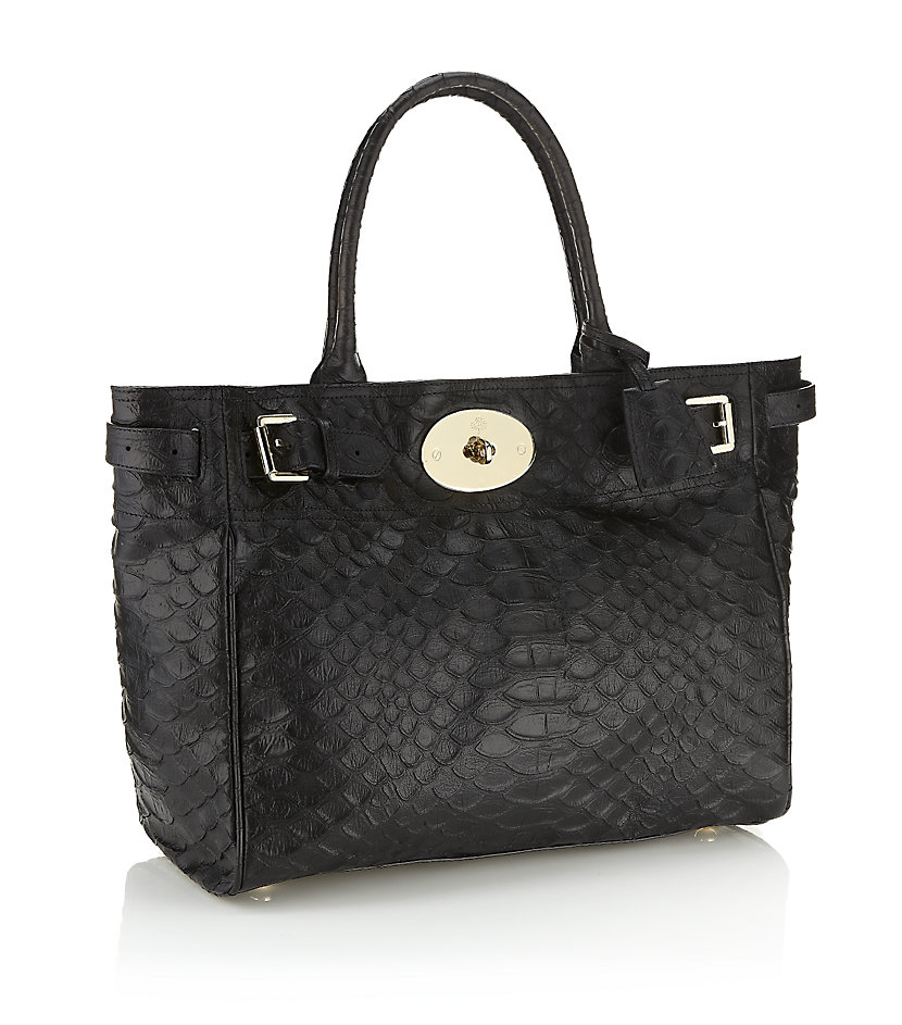 Lyst Mulberry Silky Snake Bayswater Tote In Black