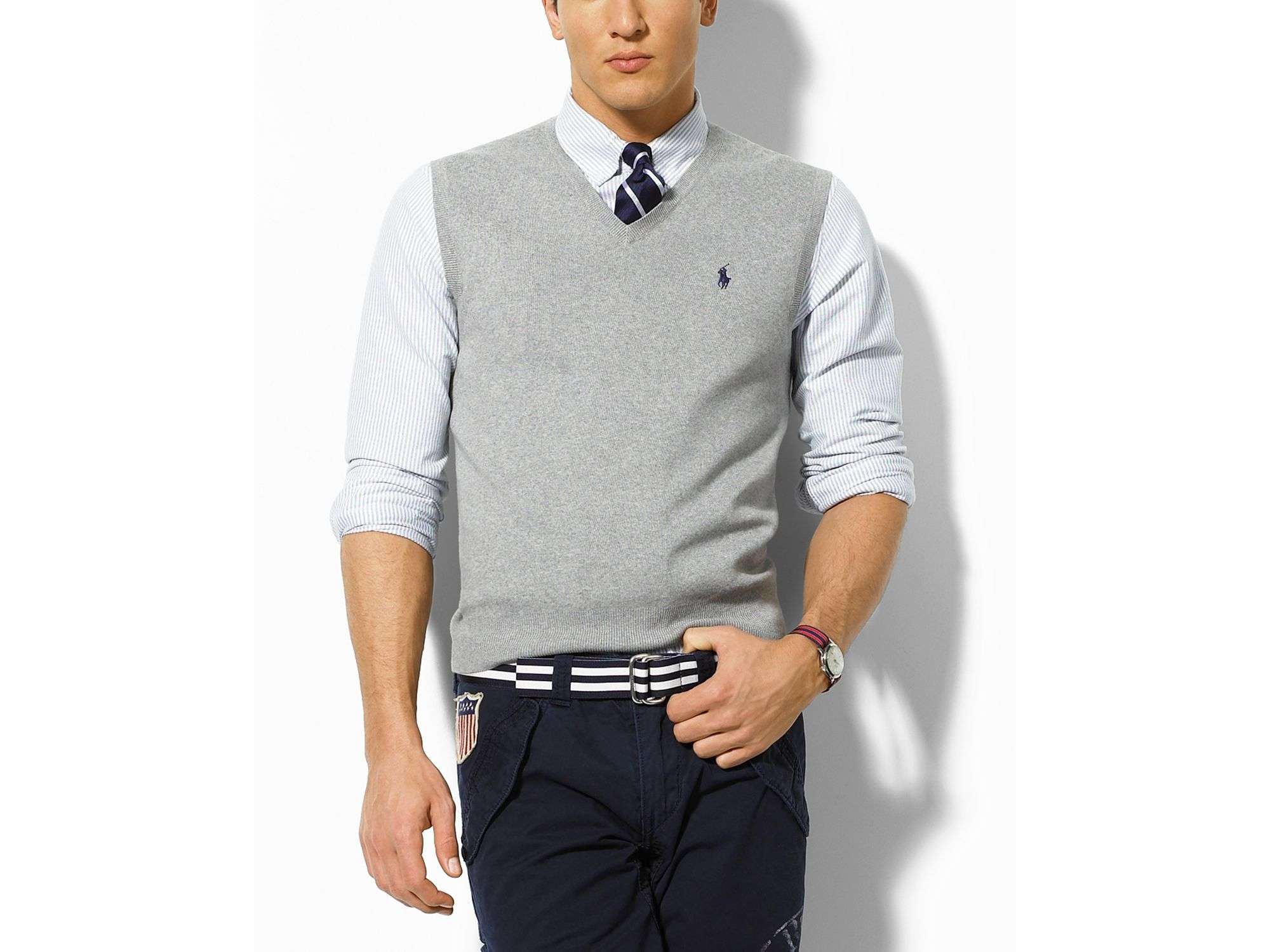 Ralph lauren Polo Light Grey Heather Sweater Vest in Gray for Men ...