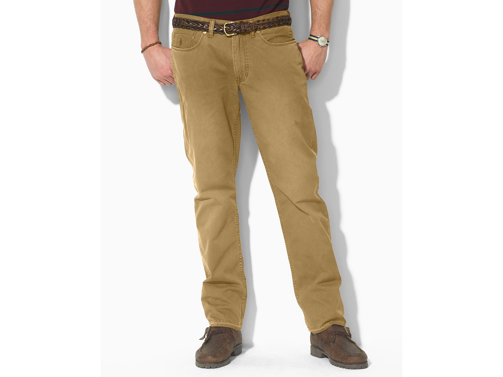 Ralph lauren Polo Straight Fit Pants in Natural for Men | Lyst