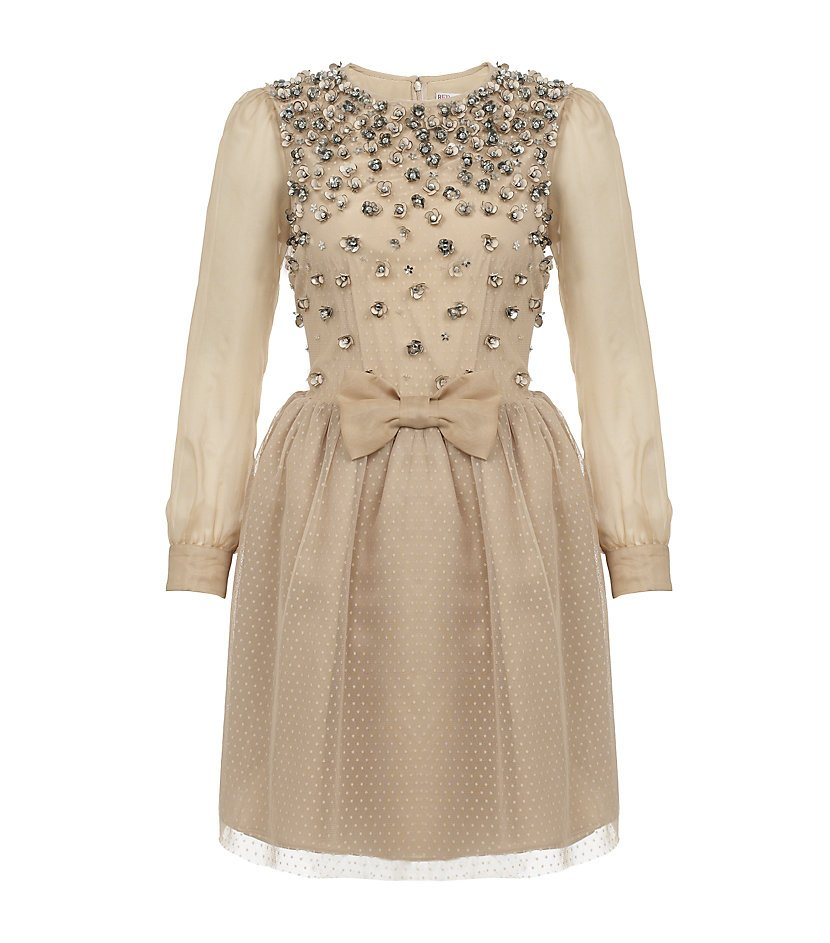 Red Valentino Crystal Flower Appliqu 233 Dress In Natural Lyst