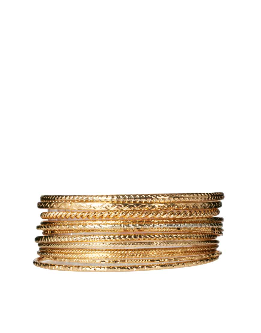 Lyst River Island Hanging Charms Bangle Pack In Metallic