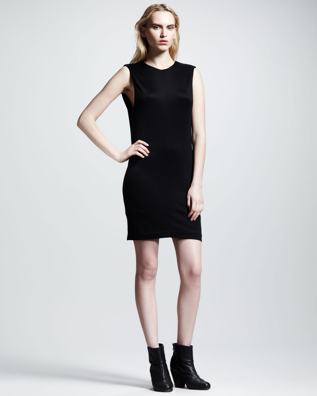 T by alexander wang Drapeback Pique Dress in Black  Lyst