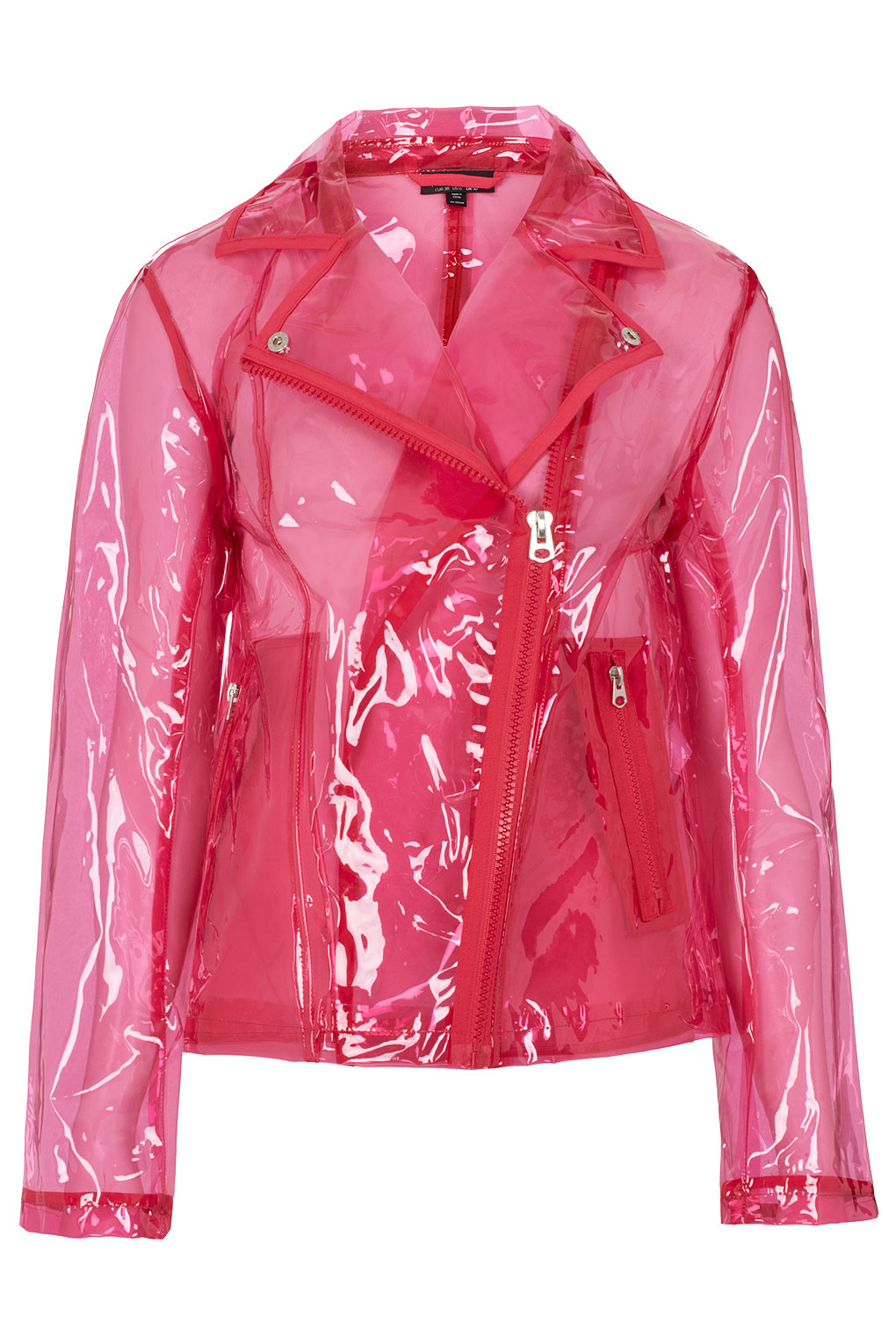 Lyst Topshop Pink Clear Plastic Jacket In Pink
