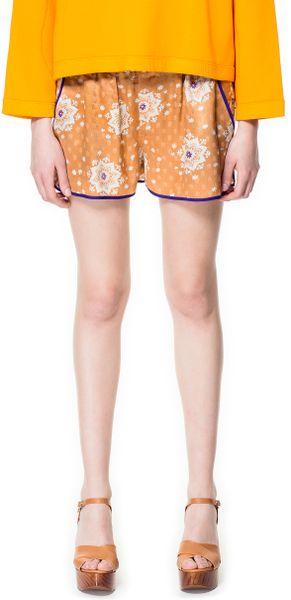 Zara Silk Shorts with Printed Jacquard Pattern in Orange (tangerine)