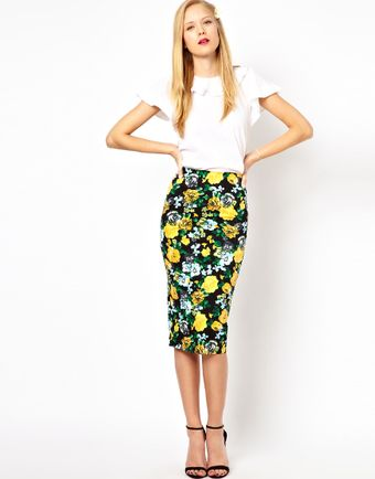ASOS Collection Pencil Skirt in Floral Print - Lyst