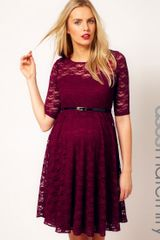 Asos Maternity Lace Skater Dress with Half Sleeve and Belt - Lyst