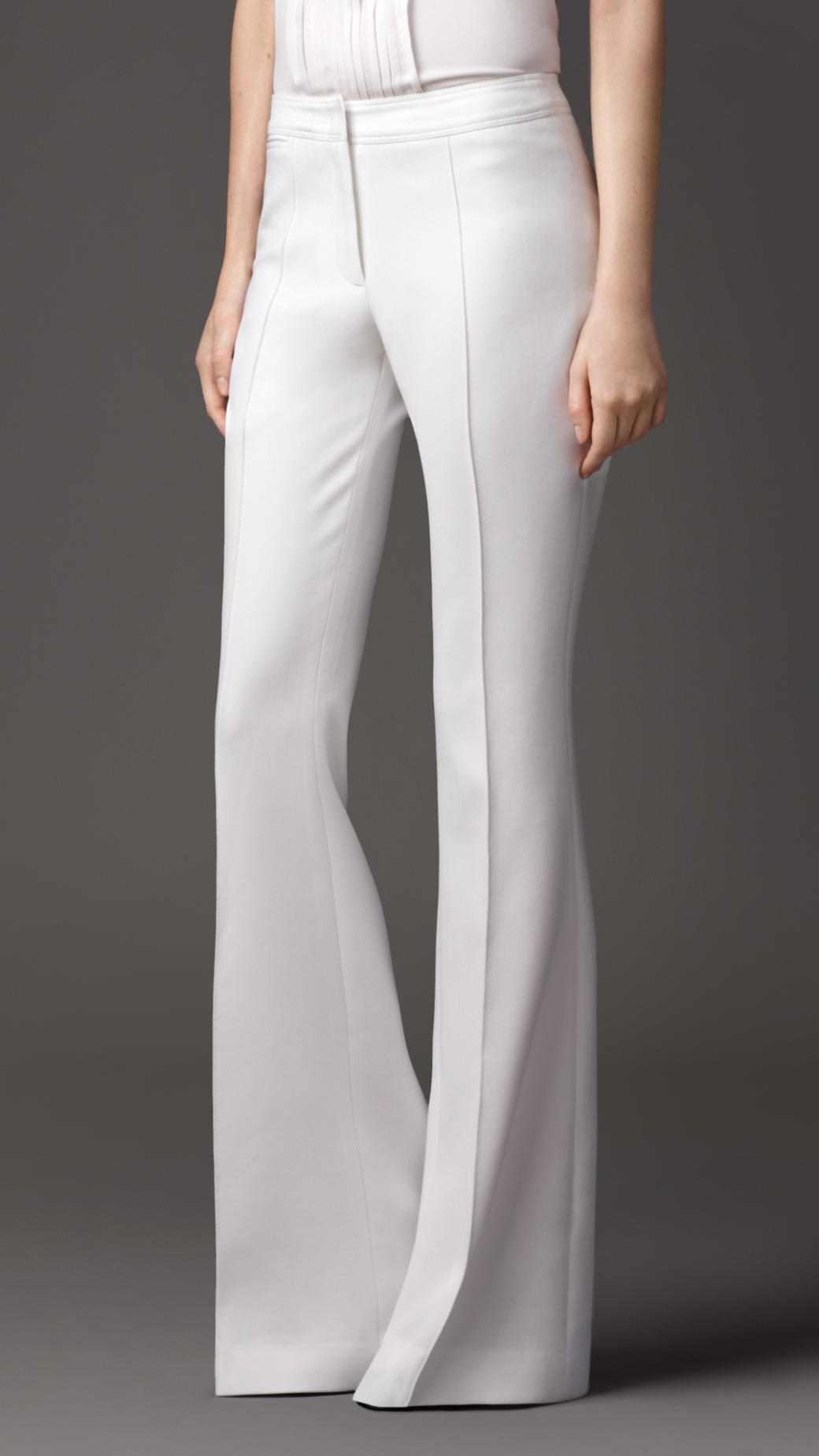 Burberry Tailored Flared Trousers In White Natural White