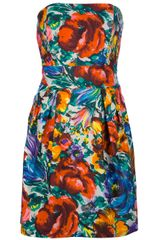Dolce & Gabbana Strapless Floral Mini Dress - Lyst