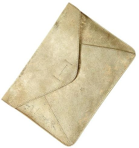 5a7e084ef00 Gap Leather Envelope Clutch in Gold