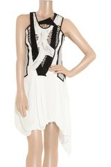Helmut Lang Sequin Fragment Paneled Silkchiffon Mini Dress in White - Lyst