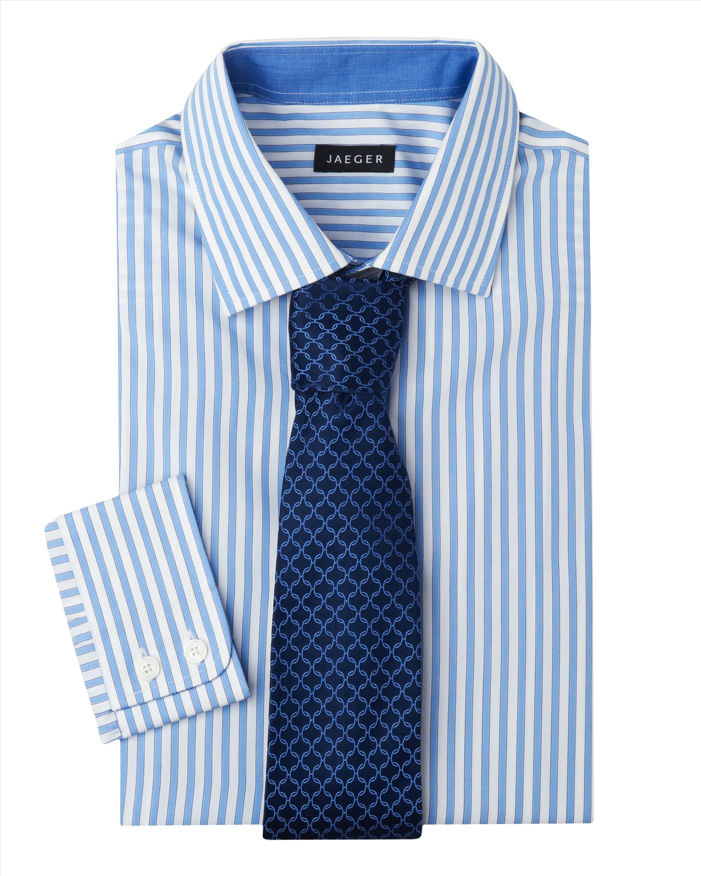 Easy Iron 25 Mg: Jaeger Easy Iron Stripe Shirt In Blue For Men