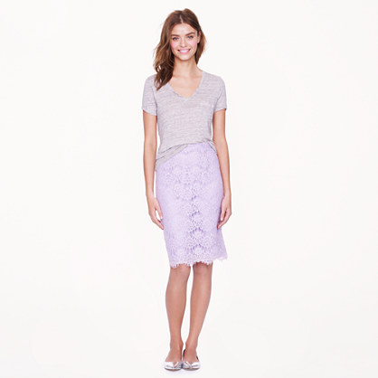 J.crew Collection Pencil Skirt in Scalloped Lace in Purple | Lyst