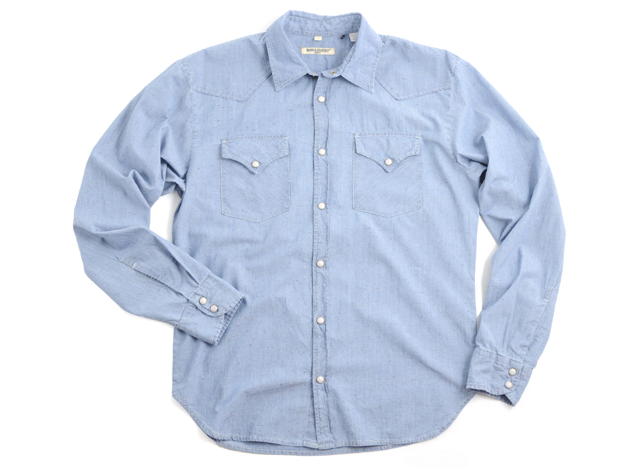 levi 39 s levis made crafted trunky shirt spotted chambray in. Black Bedroom Furniture Sets. Home Design Ideas