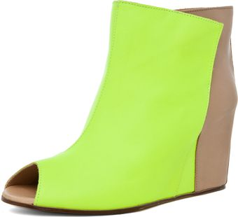 Mm6 By Maison Martin Margiela Open Top Wedge Bootie in Yellow Beige - Lyst