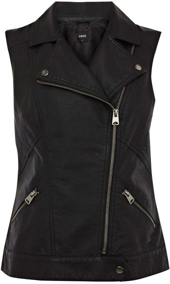 Oasis Pu Perforated Gilet - Lyst