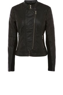 Oasis Zip Front Pu Collarless Jacket - Lyst