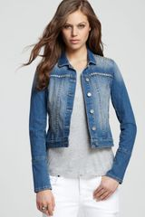 Paige Jacket Colbie Studded Denim - Lyst