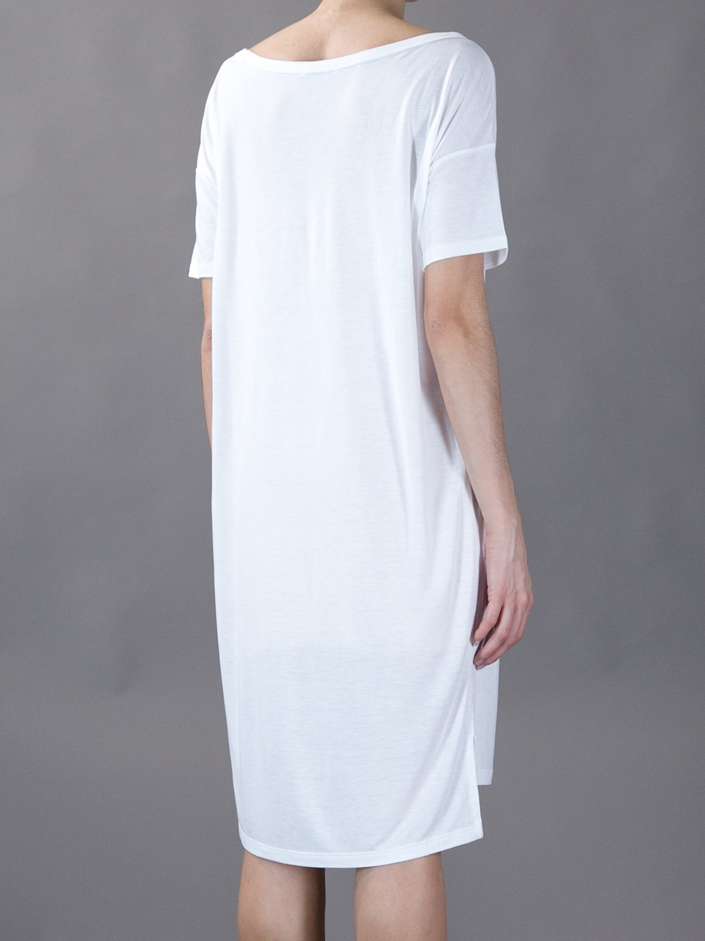 T by alexander wang t shirt dress in white lyst for Dressy white t shirt
